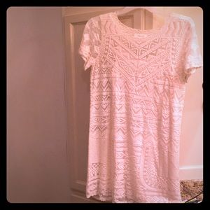 Cream dress lace overlay